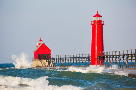 Grand Haven South Pier Lighthouse at sunrise on Lake Michigan, Ottawa County, Grand Haven, MI