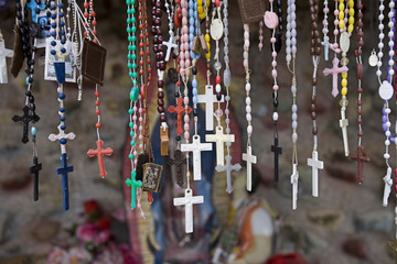 Zelfklevend Fotobehang Historisch mon. USA, New Mexico, Chimayo. Religious artifact left by believers at El Santuario de Chimayo, a church located between Santa Fe and Taos in New Mexico often called the Lourdes of America.