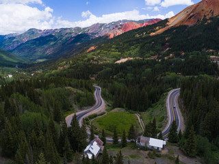 Aerial of million dollar highway near Ouray, Colorado