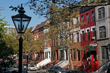 Harlem Brownstones, Manhattan, New York, USA.