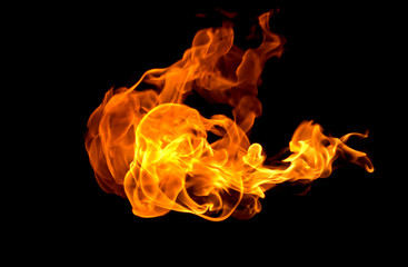 Fire flames collection isolated black background