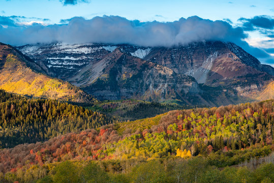 Mount Timpanogos and brilliant Fall foliage, Wasatch Mountains, Utah