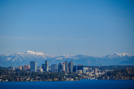 USA, Washington State, Bellevue. Bellevue skyline from Lake Washington.