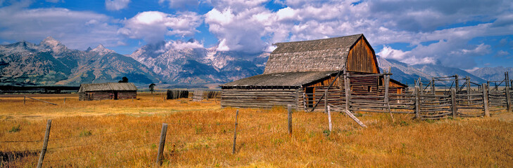 USA, Wyoming, Grand Teton NP. An old wooden barn is part of a homestead in Grand Teton National Park, Wyoming.