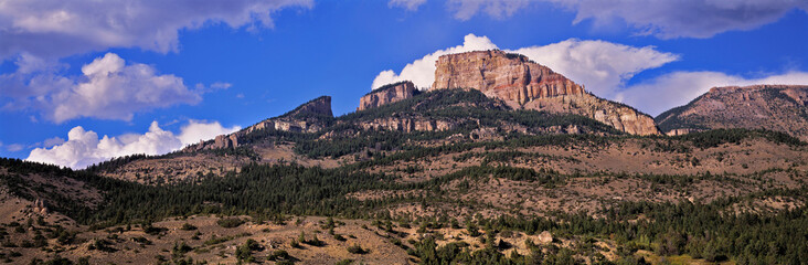 USA, Wyoming, Big Horn Mountains. The Big Horn Mountains lie beneath a summer sky, in Wyoming.