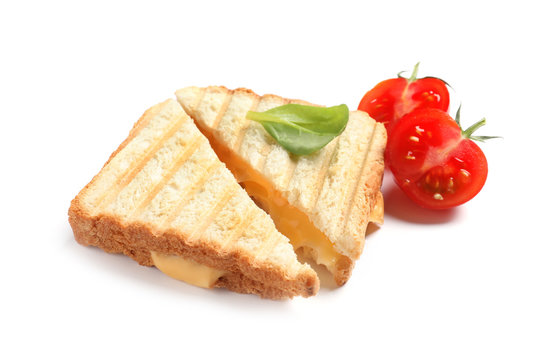 Fresh cheese sandwiches and tomato isolated on white