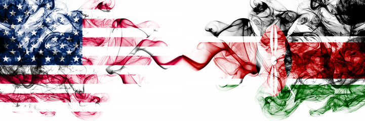 United States of America vs Kenya, Kenyan smoky mystic flags placed side by side. Thick colored silky abstract smokes banner of America and Kenya, Kenyan Wall mural