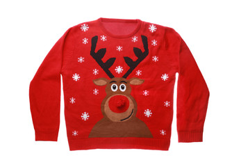 Warm Christmas sweater with deer on white background, top view