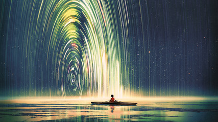 Photo sur Plexiglas Grandfailure boy rowing a boat in the sea of the starry night with mysterious light, digital art style, illustration painting