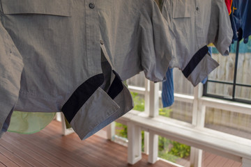 Hanging school uniform
