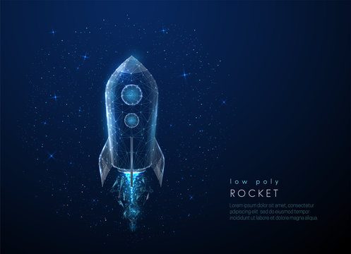 Abstact rocket flying in the space. Low poly style design
