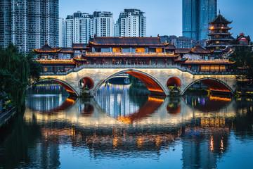 Scenic view of illuminated Anshun bridge at dusk in Chengdu China