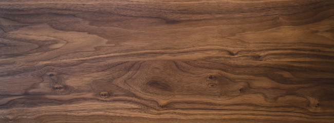 Fotorolgordijn Hout Black walnut wood texture from two boards oil finished