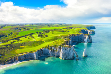 Printed kitchen splashbacks Coast Picturesque panoramic landscape on the cliffs of Etretat. Natural amazing cliffs. Etretat, Normandy, France, La Manche or English Channel. Coast of the Pays de Caux area in sunny summer day. France