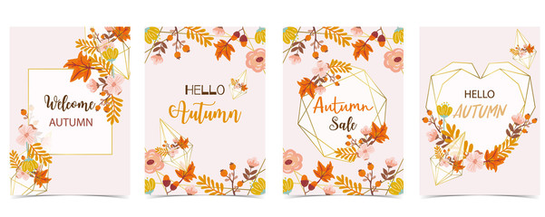 Collection of autumn background set with gold geometric,leaves,flower,wreath.Vector illustration for invitation,postcard and sticker.Editable element