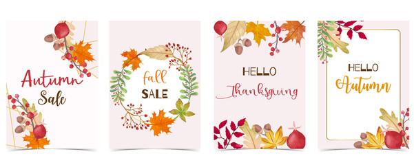 Wall Mural - Collection of autumn background set with gold geometric,leaves,flower,wreath.Vector illustration for invitation,postcard and sticker.Editable element