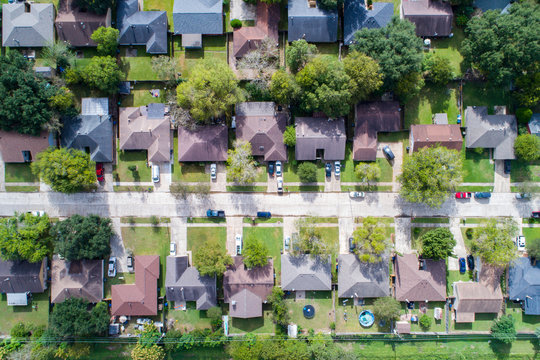Aerial view of  residential home in North West area of Houston, Texas
