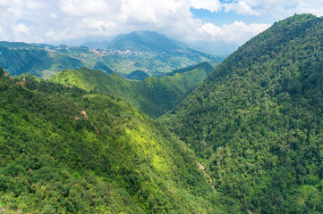 Panoramic view of mountain tops in Vietnam