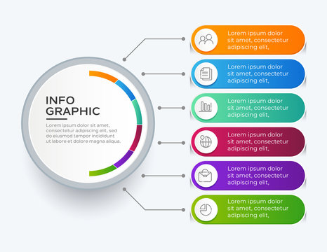 Vector illustration infographics 6 options. Template for business or presentation