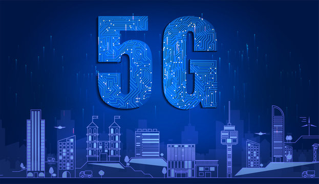 5G technology with circuit board is background. 5G network wireless systems and Smart city communication network, connect global wireless devices. Vector illustration