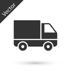 Grey Delivery cargo truck vehicle icon isolated on white background. Vector Illustration