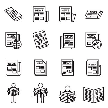 News publish, newspaper icon set with white background. Thin line style stock vector.