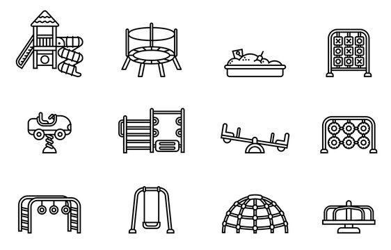 playground icon set with white background. thin line style stock vector.