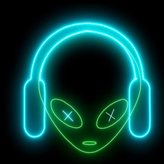 Neon UFO face, alien emoji listening music with headphones glowing light. Creature, monster, futuristic character isolated with led, neon light.