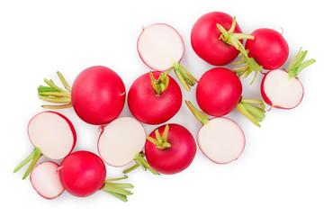 Fototapeta fresh whole and sliced radish isolated on white background. Top view obraz