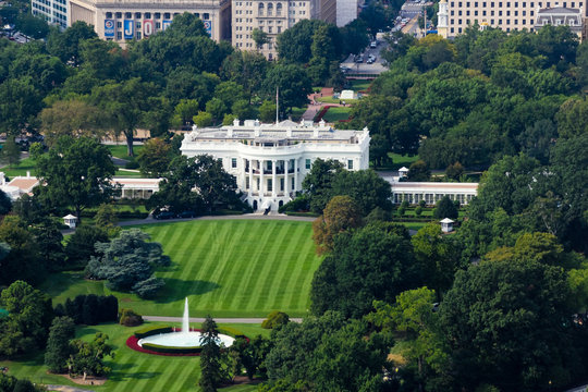 Aerial view overlooking 1600 Pennsylvania Avenue, The White House & the South Lawn, Washington DC