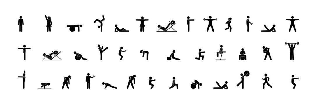 Gymnasium icons, people athletes do various exercises, fitness, gymnastics, and strength exercises. Pictogram, stick figure man.