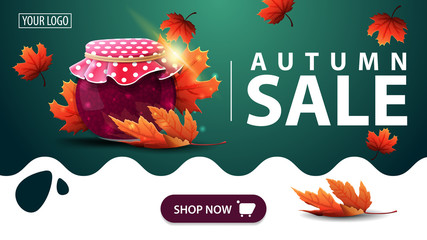 Autumn sale, green banner with jar of jam and maple leaves