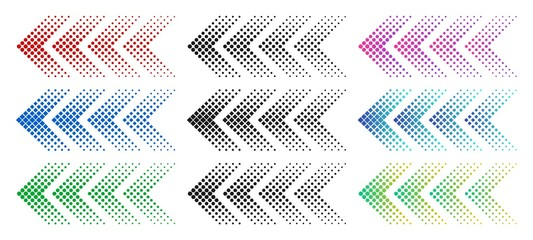 Halftone arrows. Color web arrow with dots. Colorful dotted moving forward and download symbols. Direction signpost gradient arrows web logo. Isolated colorful vector icons set Wall mural