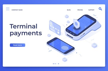 Isometric pos terminal payments. Money transfers, smartphone payment services and digital pay. Credit card contactless terminals, bank wireless payments transaction vector illustration