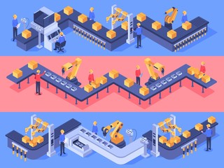 Isometric industrial factory automated line. Packaging conveyor equipment, automation line and industry factories. Automated conveyor system, manufacturing or assembly plant vector illustration