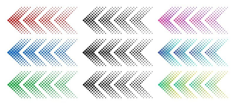 Halftone arrows. Color web arrow with dots. Colorful dotted moving forward and download symbols. Direction signpost gradient arrows web logo. Isolated colorful vector icons set