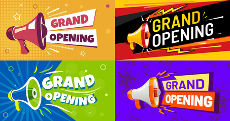 Fototapeta Grand opening banners. Invitation card with megaphone speaker, opened event and opening celebration advertising flyer. Premium invitations to store open ceremony, announcement card vector set obraz