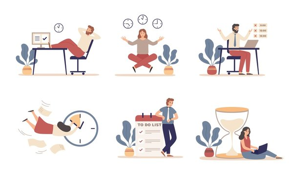 Working time planning. Work schedule, organize works productivity and tasks time management. Office work time activities, it team productive deadline plan. Flat isolated icons vector illustration set