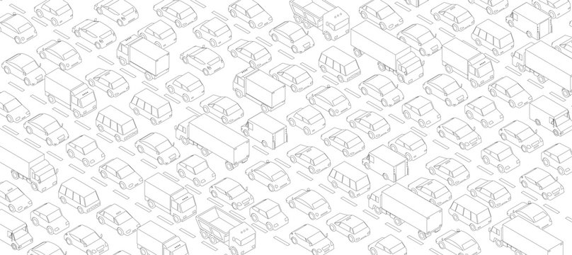 Traffic jam, car plug transport highway road. A lot of cars. Gray lines outline contour style. Background monochrome vector horizontal banner