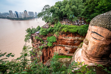 Wide angle top view of Leshan Giant Buddha or Dafo in Leshan China