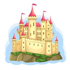 FairyTale castle on the rock. Palace for Princess. Isolated Cartoon Illustration. Wonderland. Vector.