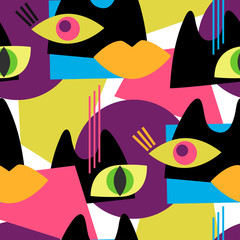 Seamless abstract vector pattern with abstract shapes of cats and eyes.