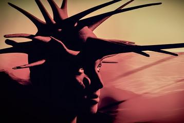Ancient head of medusa 3d rendering