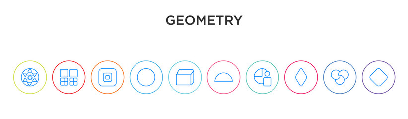 geometry concept 10 outline colorful icons