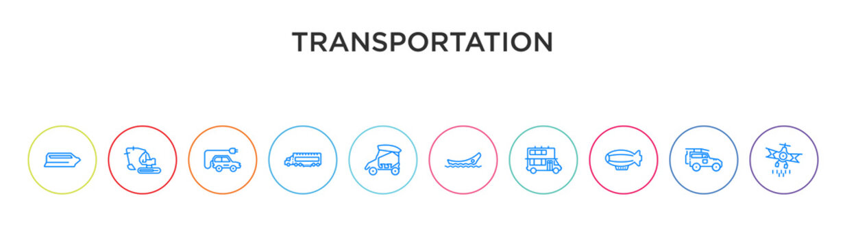 transportation concept 10 outline colorful icons