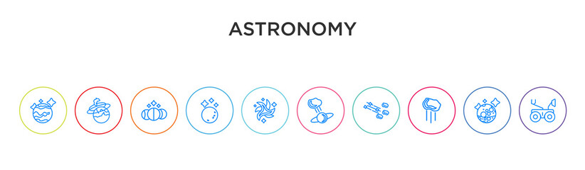 astronomy concept 10 outline colorful icons