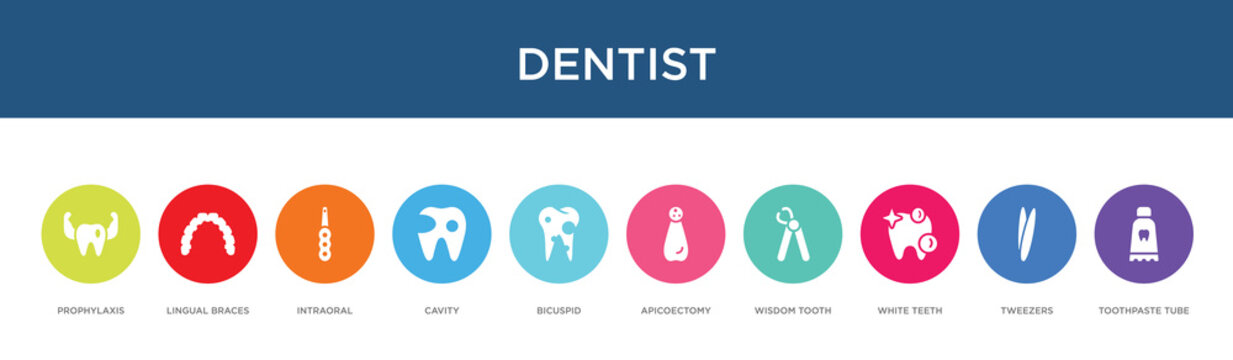 dentist concept 10 colorful icons