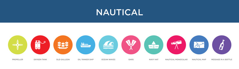 nautical concept 10 colorful icons