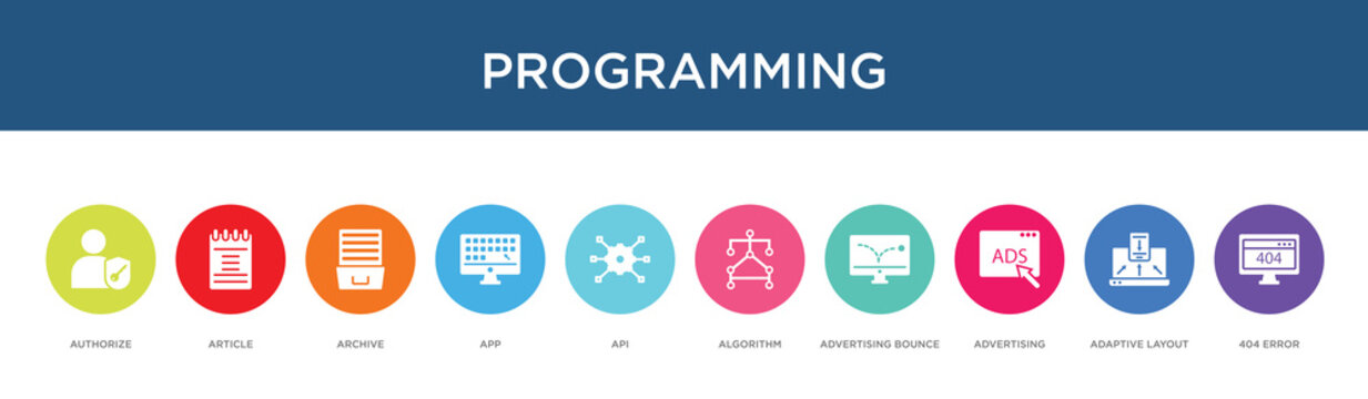 programming concept 10 colorful icons