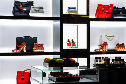 Italy, Venice - March 21, 2015: Gucci luxury bags for sale inside a luxury store in venice center